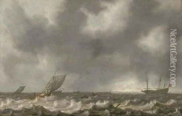 Dutch men-o'-war and other shipping in choppy seas, with a view of the coast beyond Oil Painting - Willem van Diest