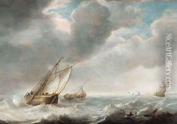 Smalschepen offshore as a storm approaches Oil Painting - Willem van Diest