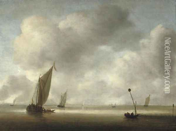 A calm with fishing boats and fishermen in the foreground Oil Painting - Willem van Diest
