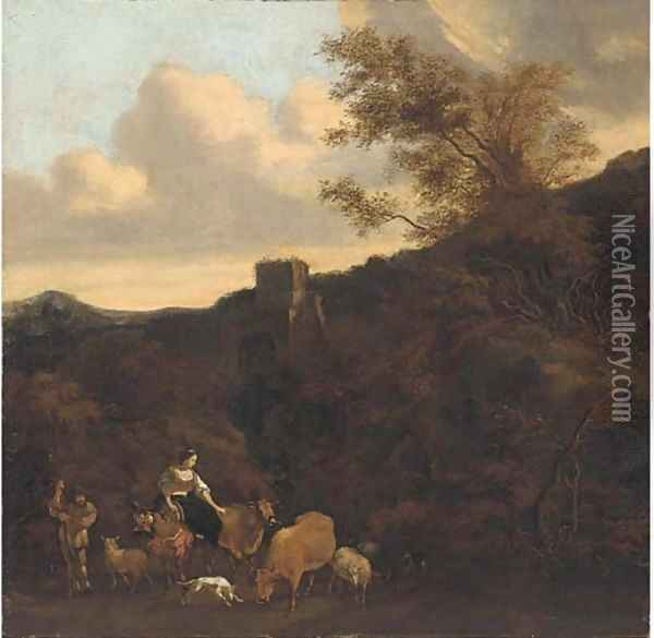 A maiden happening upon a cattle drover, a tower beyond Oil Painting - Karel Dujardin