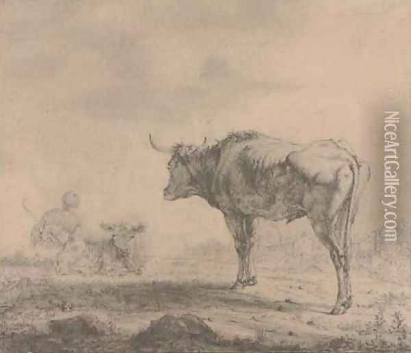 A bull looking over a resting drover Oil Painting - Karel Dujardin