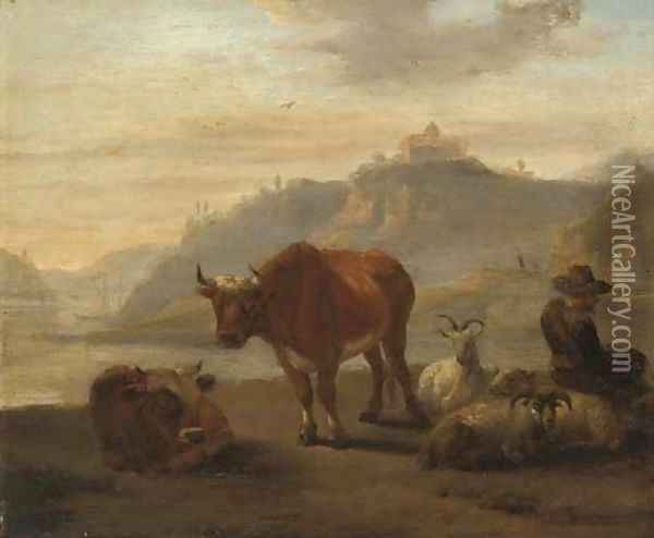 A river landscape with cattle and a shepherd and his flock in the foreground Oil Painting - Karel Dujardin