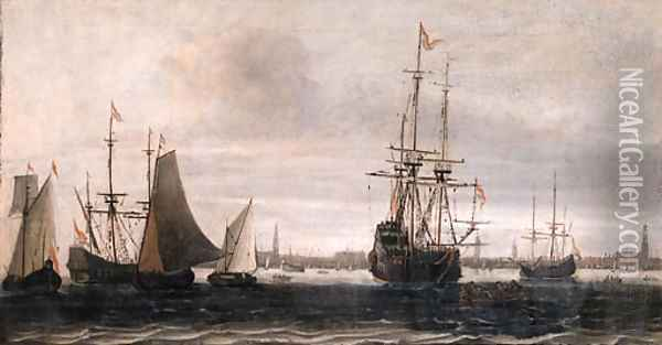 A man-of-war, a rowing boat and other shipping on the IJ, Amsterdam Oil Painting - Willem van Diest
