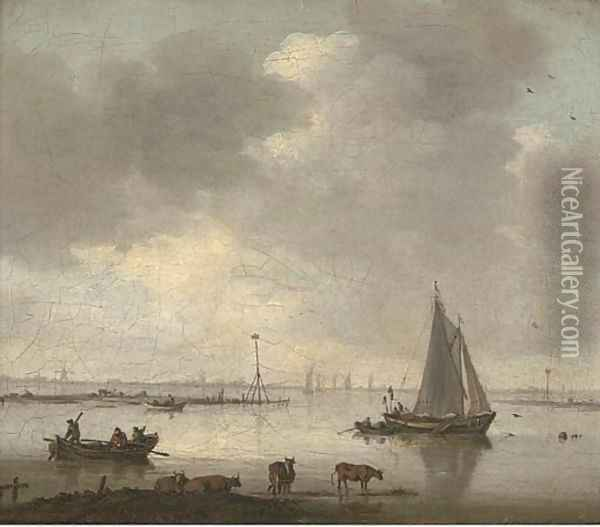 A river landscape with cattle and fishermen Oil Painting - Willem van Diest