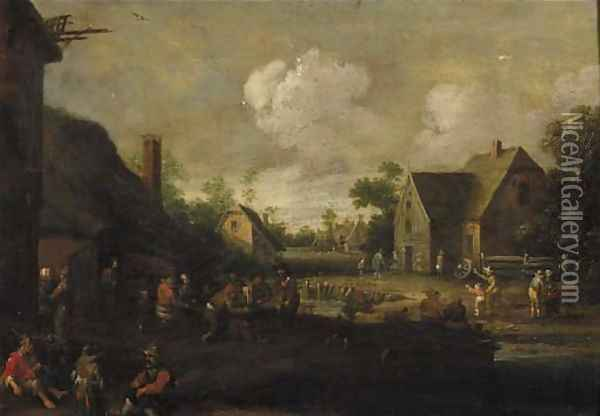 A village street with boors at table outside a tavern, beggars in the foreground Oil Painting - Cornelius Droochsloot