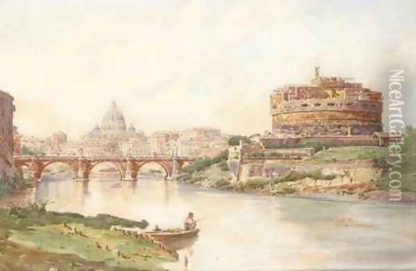 View of the Castel Sant'Angelo, Rome Oil Painting - Stefano Donadoni