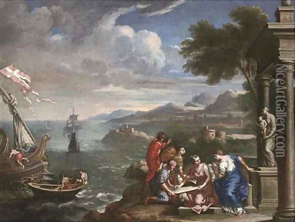 A Mediterranean coastal landscape with shipping and figures before a statue of the Madonna and Child in a classical portico Oil Painting - Domenico Zampieri (Domenichino)