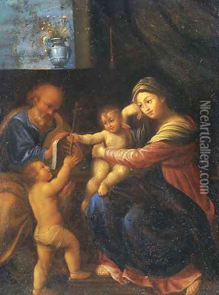 The Holy Family with the Infant Saint John the Baptist Oil Painting - Domenico Zampieri (Domenichino)