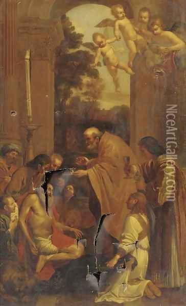The Last Communion of Saint Jerome Oil Painting - Domenico Zampieri (Domenichino)
