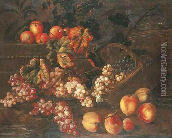 Grapes, peaches and baskets by a stone plinth Oil Painting - Pierre Dupuis