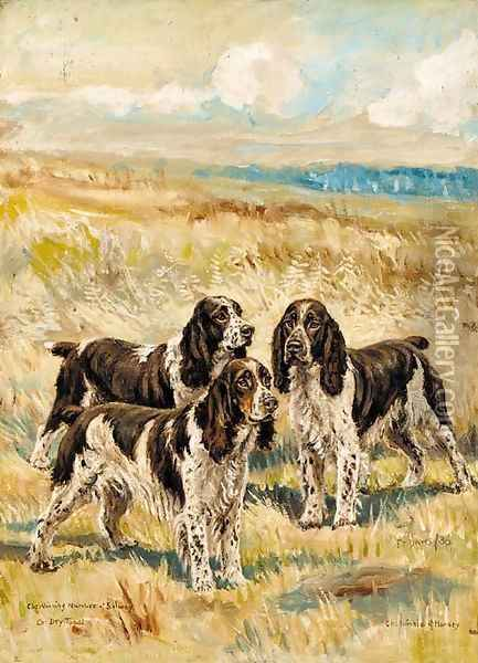 Champion Winning Number of Solway, Champion Dry Toast and Champion Nimble of Hamsey, three springer spaniels in a landscape Oil Painting - Frederick Thomas Daws