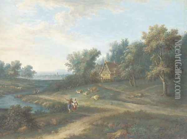 An extensive landscape with two figures by a stream Oil Painting - Johann Christoph Dietzsch