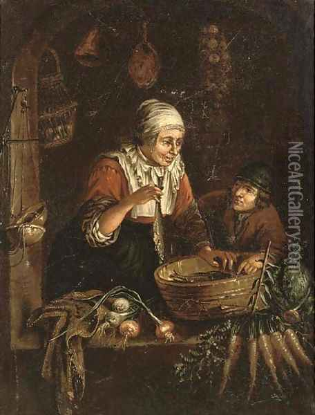 A woman and a boy at a casement with vegetables, a domestic interior beyond Oil Painting - Gerrit Dou