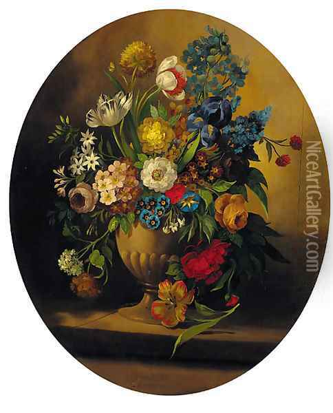 Summer flowers in an urn on a ledge; and Summer flowers in a glass vase on a ledge Oil Painting - Jan Frans Van Dael