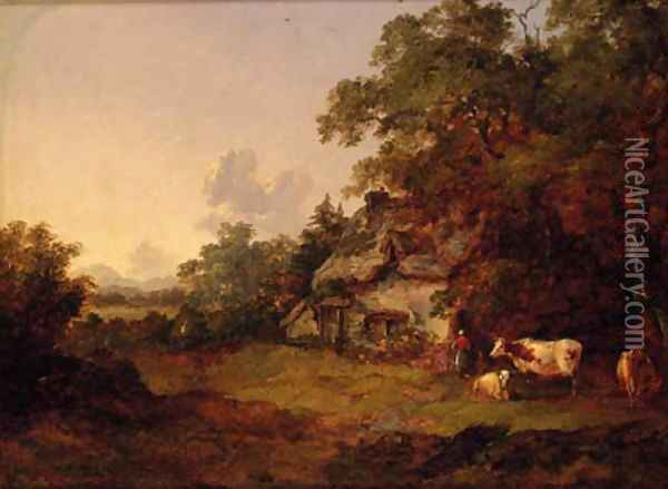 Figures before a Cottage in a wooded landscape Oil Painting - John Dearman