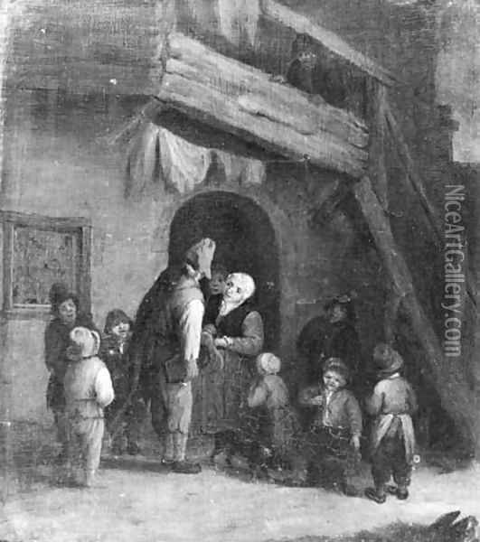 A hurdy-gurdy player accompanied by children by a farm Oil Painting - Cornelis Dusart