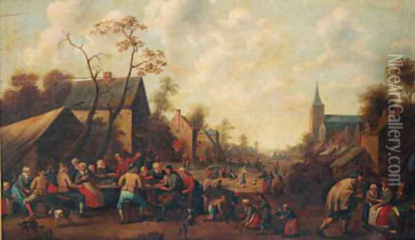Peasants drinking and eating at tables in a village street Oil Painting - Joost Cornelisz. Droochsloot