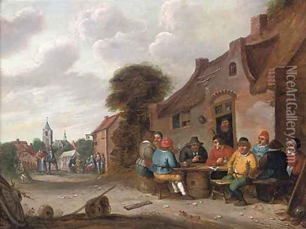 Peasants drinking and smoking outside a tavern Oil Painting - Joost Cornelisz. Droochsloot