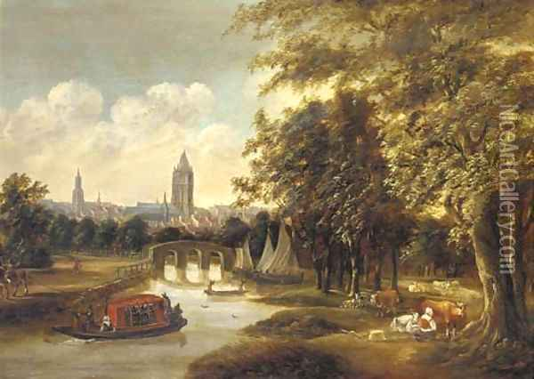 A view of Delft from the north with the Leiden ferry Oil Painting - Willem Van Dalen