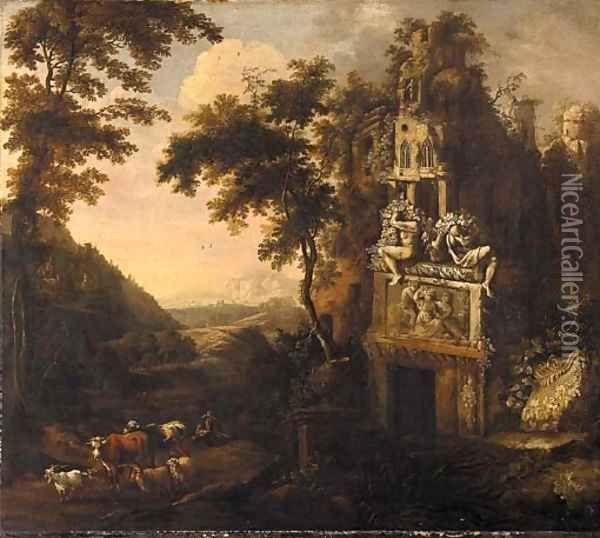 An Italianate landscape with a drover and his herd amongst ruins Oil Painting - Adriaen Van Diest