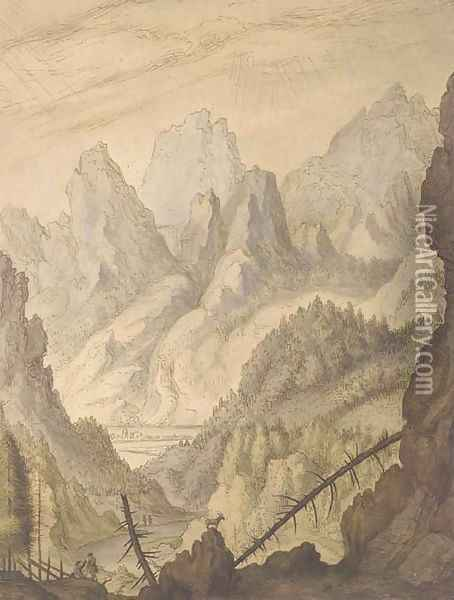A mountainous landscape with a goat on a rocky outcrop Oil Painting - Lambert Doomer