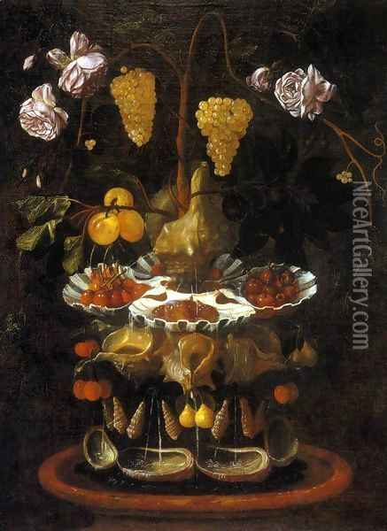Still-Life with a Shell Fountain, Fruit and Flowers c. 1645 Oil Painting - Juan De Espinosa