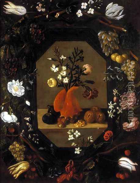 Still-Life with Flowers with a Garland of Fruit and Flowers c. 1645 Oil Painting - Juan De Espinosa