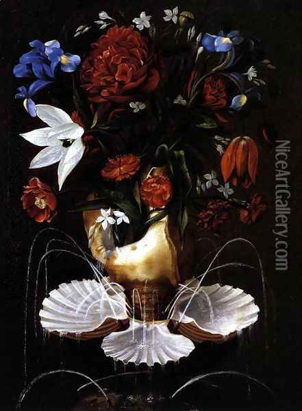 Still-Life with Shell Fountain and Flowers c. 1645 Oil Painting - Juan De Espinosa