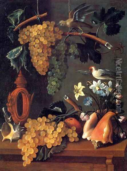 Still-Life with Grapes, Flowers and Shells Oil Painting - Juan De Espinosa