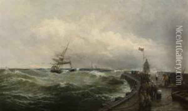 Steam Tug And Other Vessels Off Lowestoft Harbour Oil Painting - Robert Ernest Roe