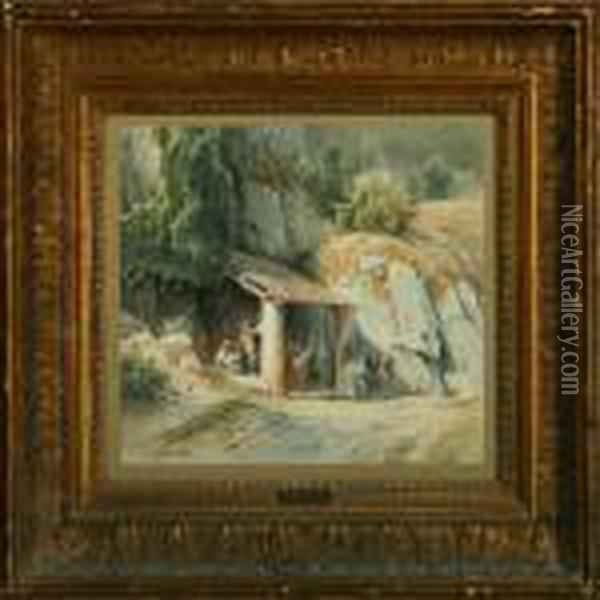 Italian Landscape With Shepherds And Their Donkeys Oil Painting - Frederik Niels M. Rohde
