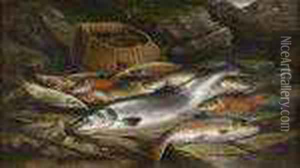 A Still Life Of Assorted Fish On A Riverbank Oil Painting - Henry Leonidas Rolfe