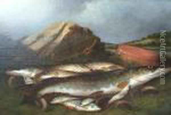 Pike And Trout On A Riverbank Oil Painting - Henry Leonidas Rolfe