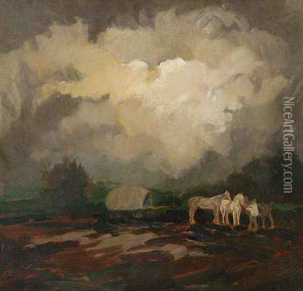 A Landscape With Tramps Oil Painting - Viktor Rolin