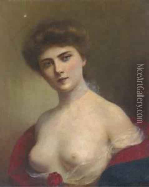 A Young Beauty Oil Painting - H. Rondel