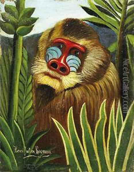 Tete De Mandrill Dans La Jungle Oil Painting - Henri Julien Rousseau