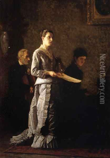 Singing a Pathetic Song Oil Painting - Thomas Cowperthwait Eakins