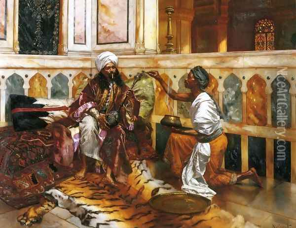 Preparing the Hookah Oil Painting - Rudolph Ernst