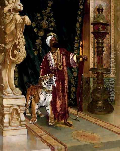 A sultan with a tiger Oil Painting - Rudolph Ernst