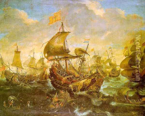 The Battle of the Spanish Fleet with Dutch Ships in May 1573 during the Siege of Haarlem Oil Painting - Andries Van Eertvelt