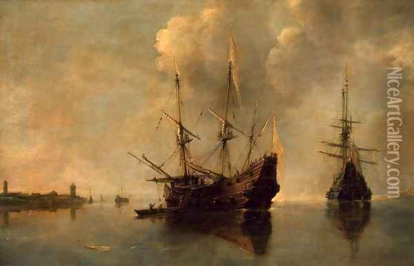 Two Ships at Anchor Oil Painting - Andries Van Eertvelt