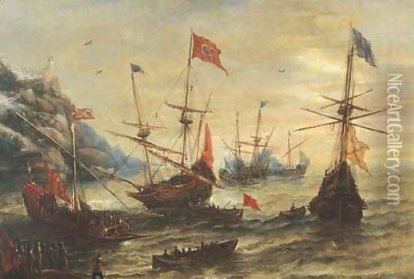 A coastal landscape with frigates and soldiers in a breeze Oil Painting - Andries Van Eertvelt