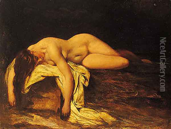 Nude Woman Asleep Oil Painting - William Etty