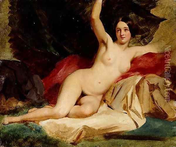 Female Nude In A Landscape Oil Painting - William Etty