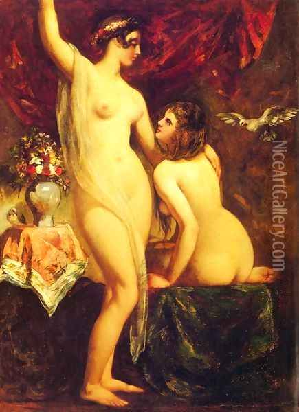 Two Nudes In An Interior Oil Painting - William Etty