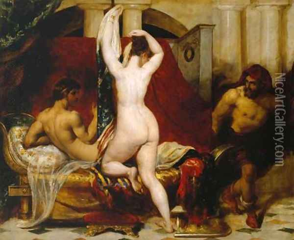 Candaules King Of Lydia Shews His Wife By Stealth To Gyges One Of His Ministers As She Goes To Bed Oil Painting - William Etty