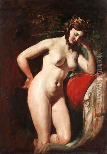 Study of a Female Nude - Contemplation Oil Painting - William Etty