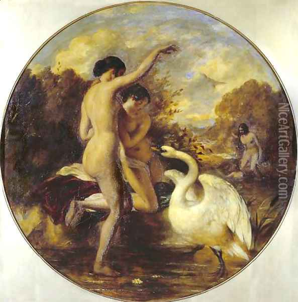 Female Bathers Surprised By A Swan Oil Painting - William Etty