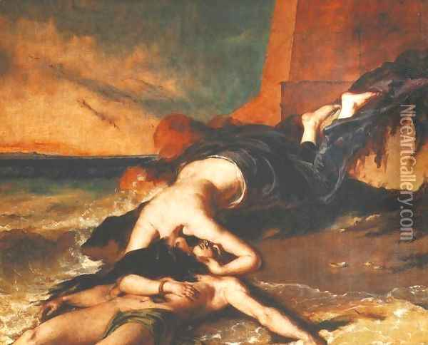 Hero And Leander Oil Painting - William Etty