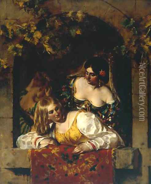 Window In Venice During A Fiesta Oil Painting - William Etty
